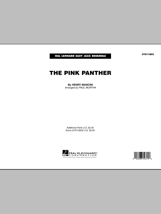 Paul Murtha The Pink Panther - Full Score sheet music preview music notes and score for Jazz Ensemble including 11 page(s)