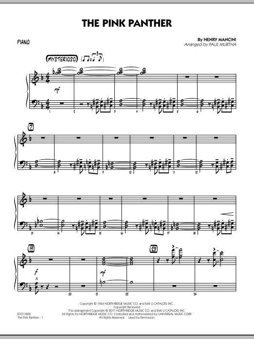 Paul Murtha The Pink Panther - Piano sheet music preview music notes and score for Jazz Ensemble including 3 page(s)