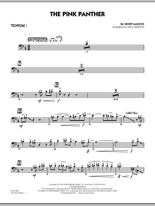 Paul Murtha The Pink Panther - Trombone 1 sheet music preview music notes and score for Jazz Ensemble including 2 page(s)