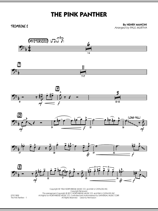 Paul Murtha The Pink Panther - Trombone 2 sheet music preview music notes and score for Jazz Ensemble including 2 page(s)