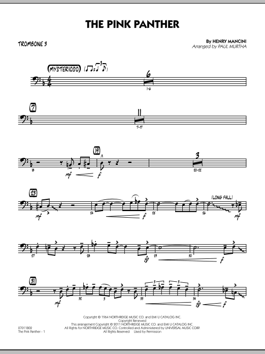 Paul Murtha The Pink Panther - Trombone 3 sheet music preview music notes and score for Jazz Ensemble including 2 page(s)