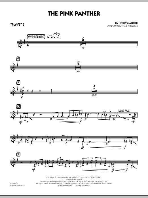 Paul Murtha The Pink Panther - Trumpet 2 sheet music preview music notes and score for Jazz Ensemble including 2 page(s)