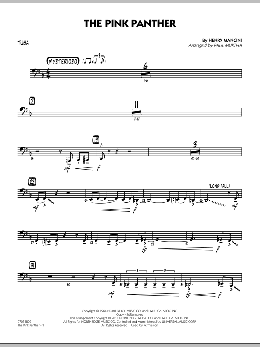 Paul Murtha The Pink Panther - Tuba sheet music preview music notes and score for Jazz Ensemble including 2 page(s)