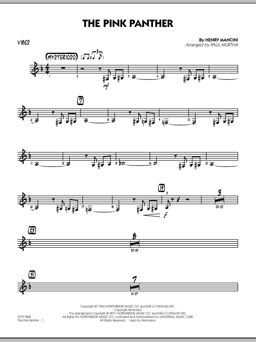 Paul Murtha The Pink Panther - Vibes sheet music preview music notes and score for Jazz Ensemble including 2 page(s)