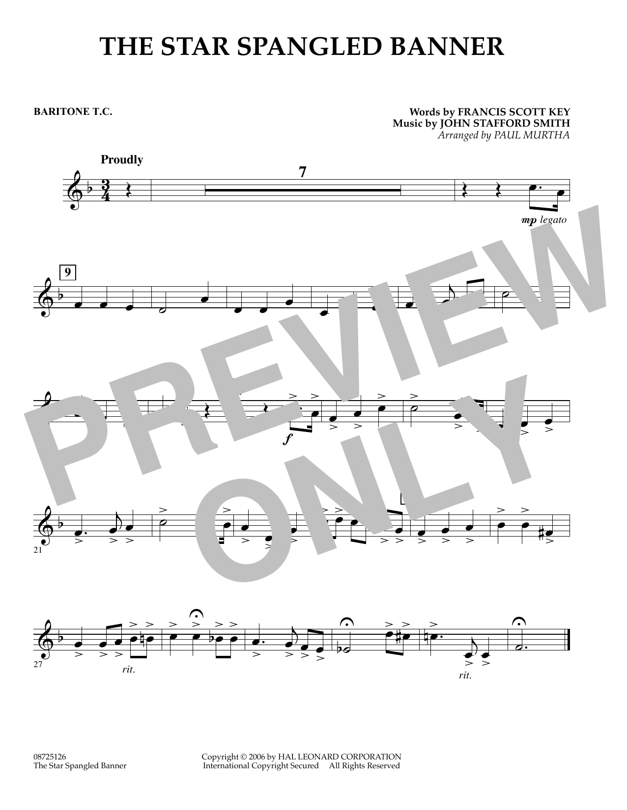 Paul Murtha The Star Spangled Banner - Baritone T.C. sheet music preview music notes and score for Concert Band including 1 page(s)