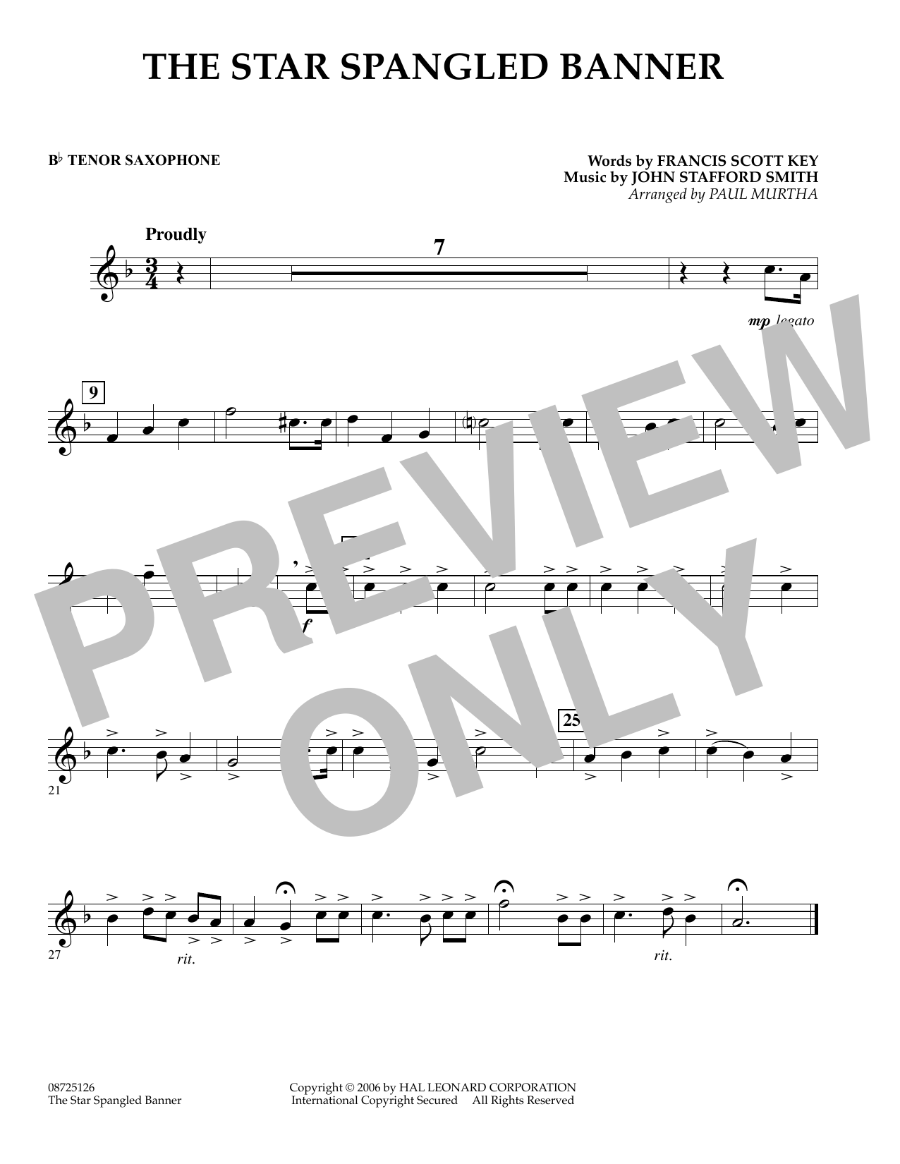 Paul Murtha The Star Spangled Banner - Bb Tenor Saxophone sheet music preview music notes and score for Concert Band including 1 page(s)