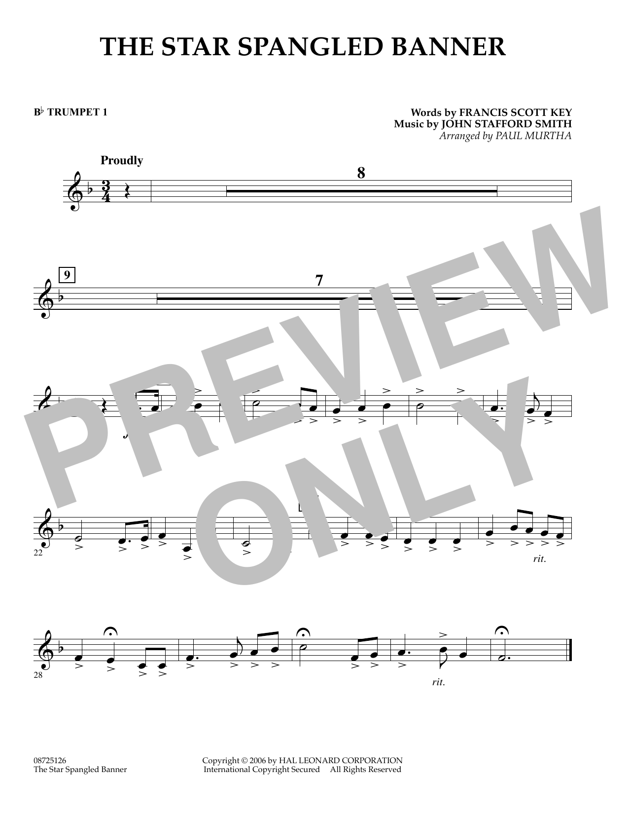 Paul Murtha The Star Spangled Banner - Bb Trumpet 1 sheet music preview music notes and score for Concert Band including 1 page(s)