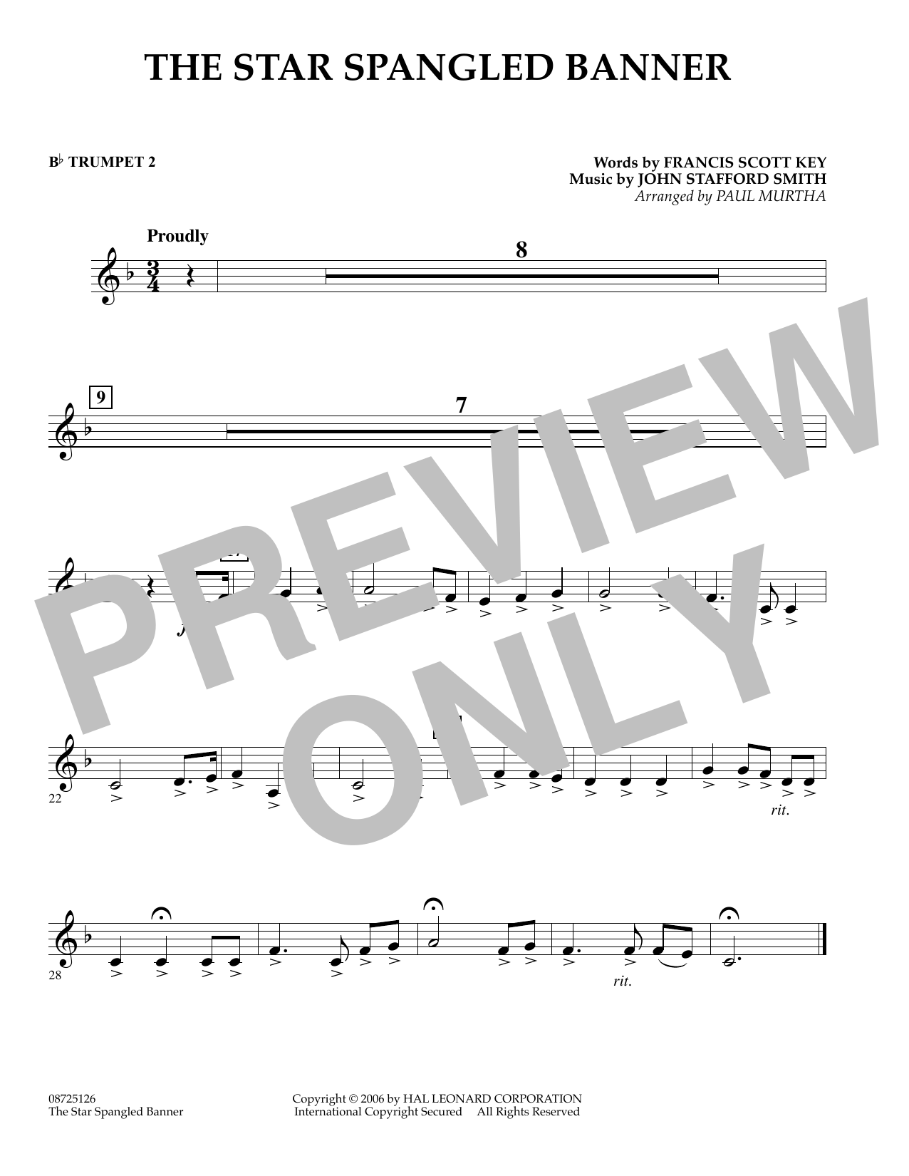 Paul Murtha The Star Spangled Banner - Bb Trumpet 2 sheet music preview music notes and score for Concert Band including 1 page(s)