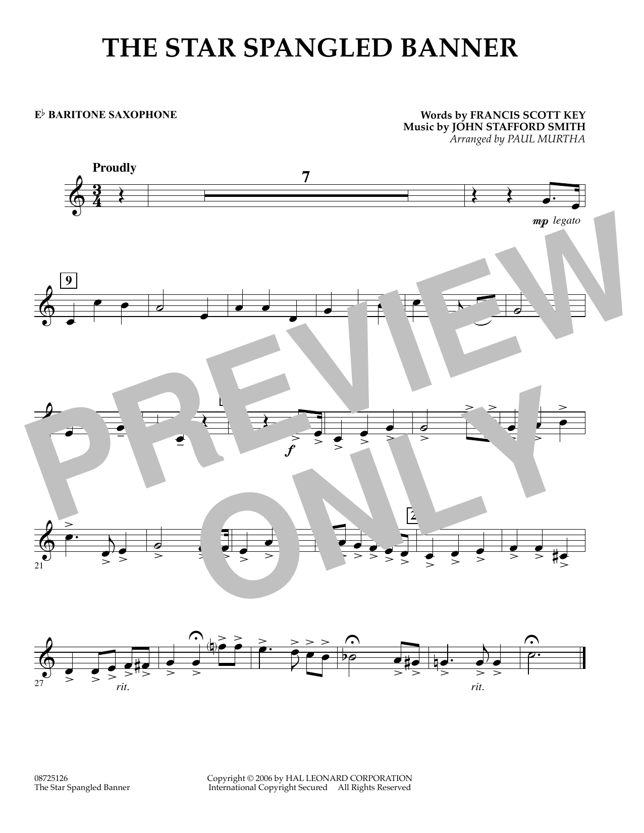 Paul Murtha The Star Spangled Banner - Eb Baritone Saxophone sheet music preview music notes and score for Concert Band including 1 page(s)