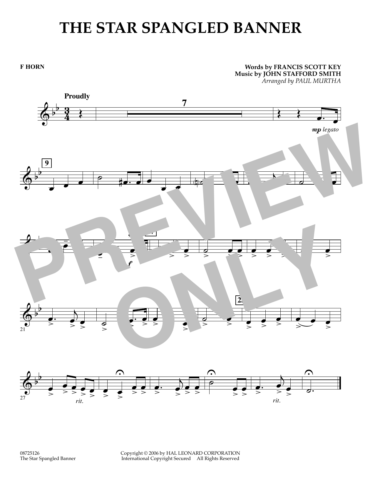 Paul Murtha The Star Spangled Banner - F Horn sheet music preview music notes and score for Concert Band including 1 page(s)