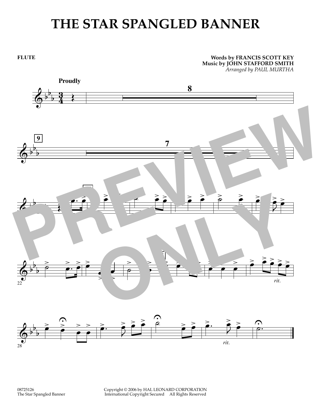 Paul Murtha The Star Spangled Banner - Flute sheet music preview music notes and score for Concert Band including 1 page(s)