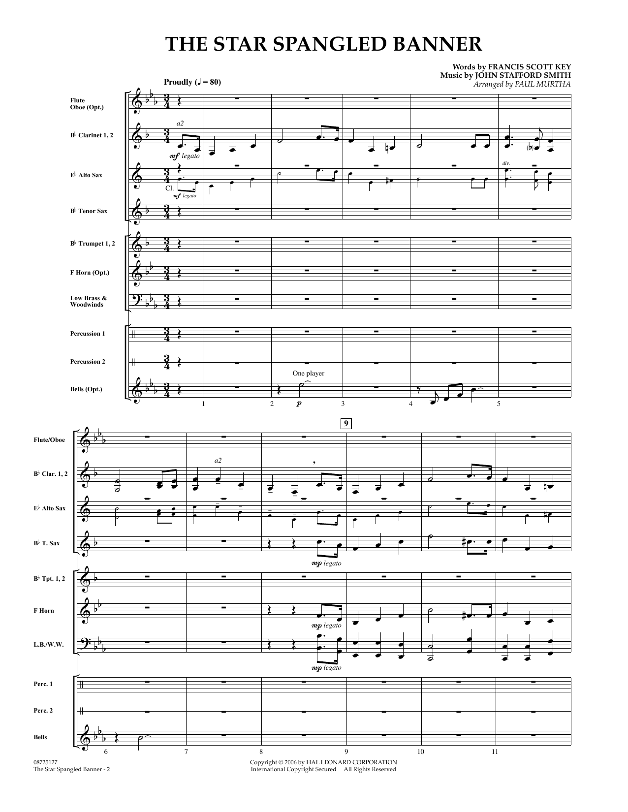 Paul Murtha The Star Spangled Banner - Full Score sheet music preview music notes and score for Concert Band including 3 page(s)