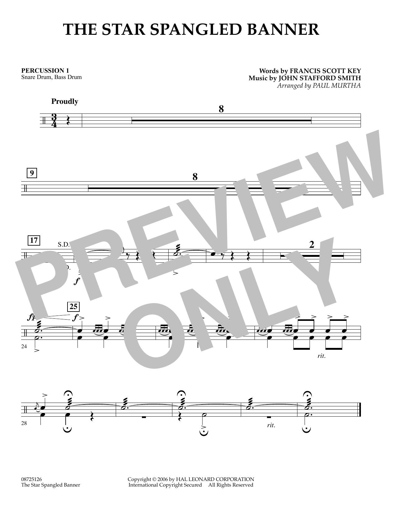 Paul Murtha The Star Spangled Banner - Percussion 1 sheet music preview music notes and score for Concert Band including 1 page(s)