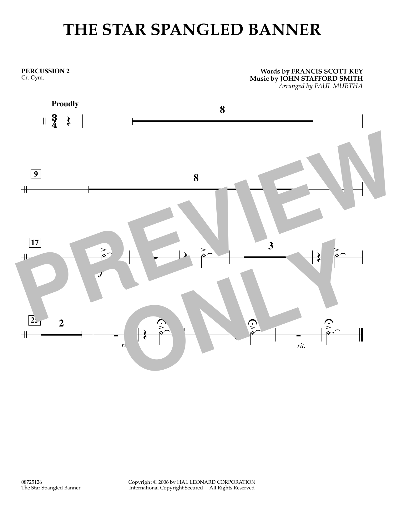 Paul Murtha The Star Spangled Banner - Percussion 2 sheet music preview music notes and score for Concert Band including 1 page(s)
