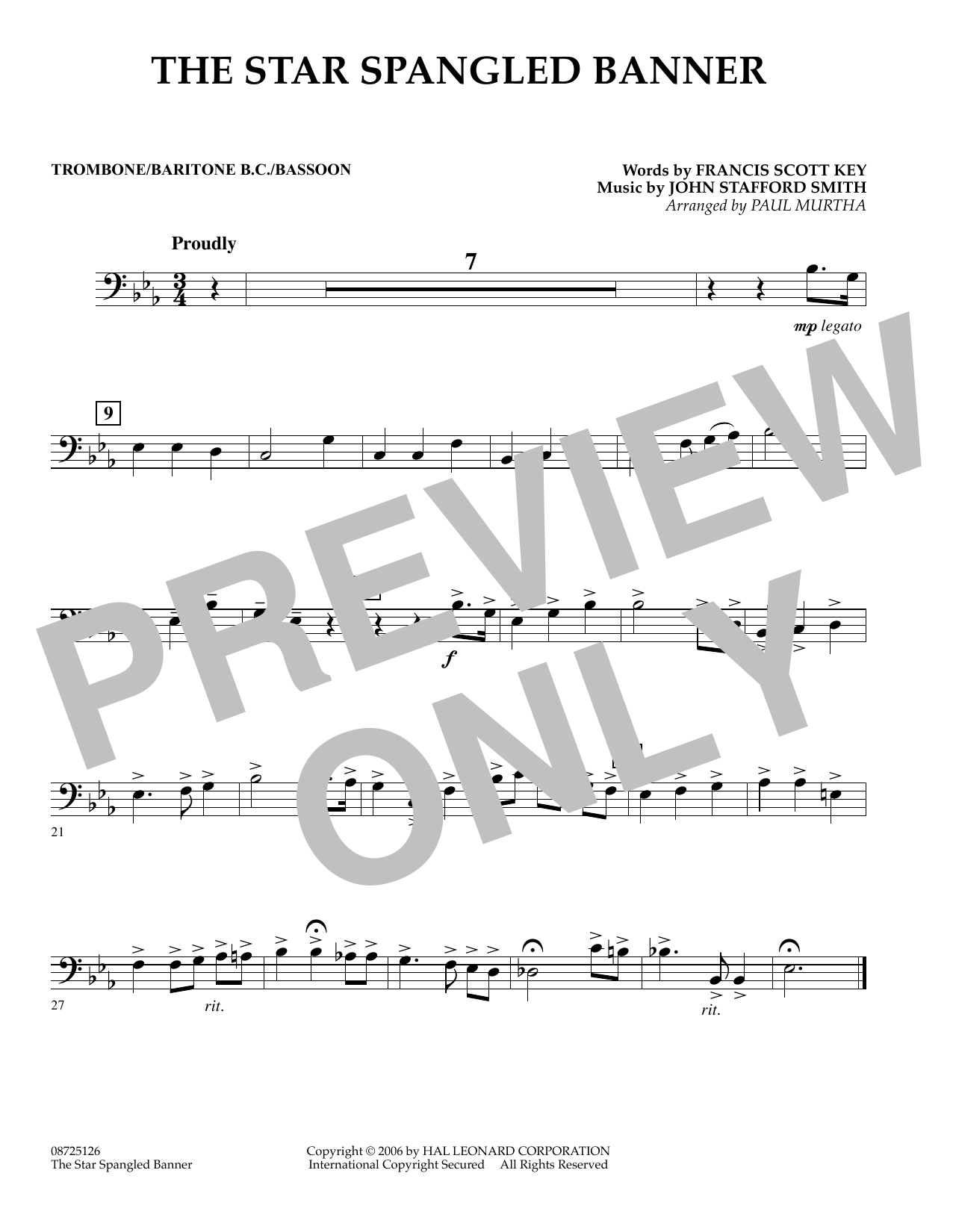 Paul Murtha The Star Spangled Banner - Trombone/Baritone B.C./Bassoon sheet music preview music notes and score for Concert Band including 1 page(s)