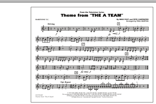Paul Murtha Theme from The A-Team - Baritone T.C. sheet music preview music notes and score for Concert Band including 1 page(s)