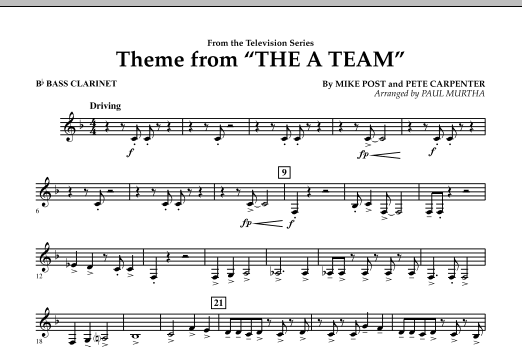 Paul Murtha Theme from The A-Team - Bb Bass Clarinet sheet music preview music notes and score for Concert Band including 1 page(s)