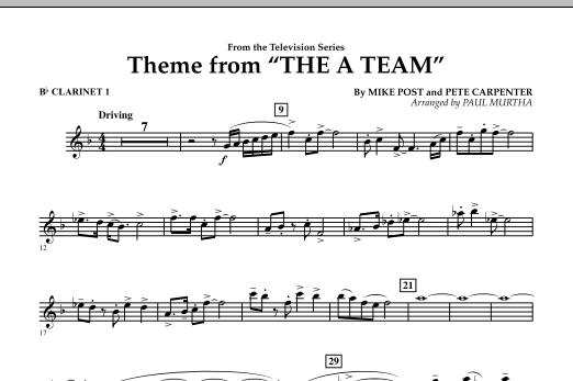 Paul Murtha Theme from The A-Team - Bb Clarinet 1 sheet music preview music notes and score for Concert Band including 1 page(s)