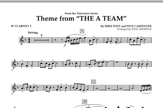 Paul Murtha Theme from The A-Team - Bb Clarinet 2 sheet music preview music notes and score for Concert Band including 1 page(s)