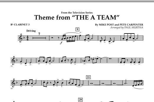 Paul Murtha Theme from The A-Team - Bb Clarinet 3 sheet music preview music notes and score for Concert Band including 1 page(s)