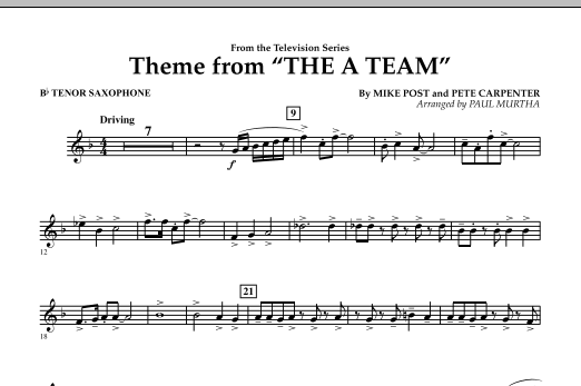 Paul Murtha Theme from The A-Team - Bb Tenor Saxophone sheet music preview music notes and score for Concert Band including 1 page(s)