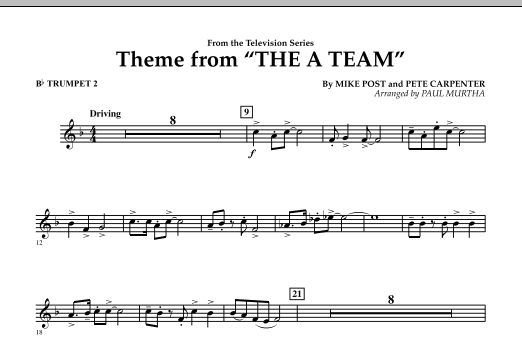 Paul Murtha Theme from The A-Team - Bb Trumpet 2 sheet music preview music notes and score for Concert Band including 1 page(s)