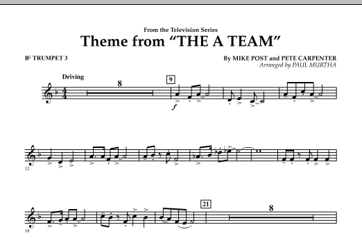 Paul Murtha Theme from The A-Team - Bb Trumpet 3 sheet music preview music notes and score for Concert Band including 1 page(s)