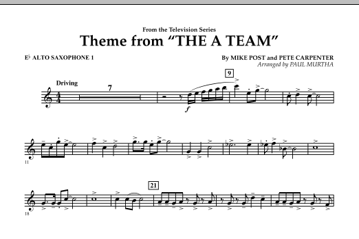 Paul Murtha Theme from The A-Team - Eb Alto Saxophone 1 sheet music preview music notes and score for Concert Band including 1 page(s)
