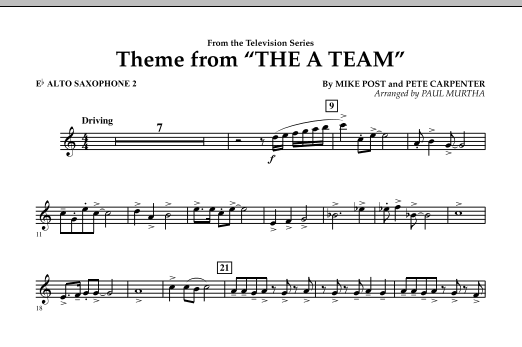 Paul Murtha Theme from The A-Team - Eb Alto Saxophone 2 sheet music preview music notes and score for Concert Band including 1 page(s)