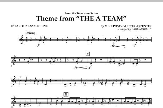 Paul Murtha Theme from The A-Team - Eb Baritone Saxophone sheet music preview music notes and score for Concert Band including 1 page(s)
