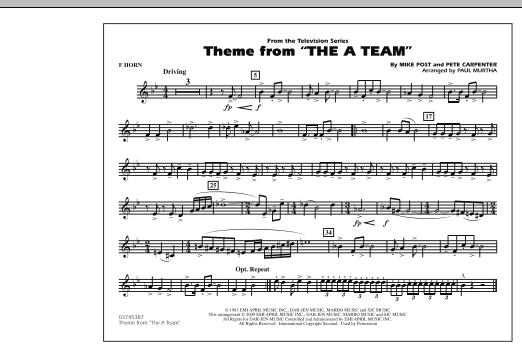 Paul Murtha Theme from The A-Team - F Horn sheet music preview music notes and score for Concert Band including 1 page(s)