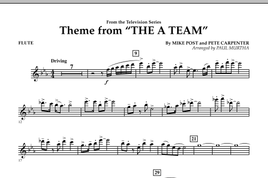 Paul Murtha Theme from The A-Team - Flute sheet music preview music notes and score for Concert Band including 1 page(s)
