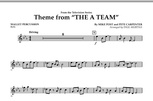 Paul Murtha Theme from The A-Team - Mallet Percussion sheet music preview music notes and score for Concert Band including 1 page(s)