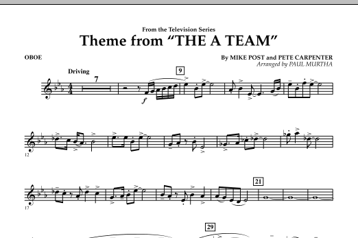 Paul Murtha Theme from The A-Team - Oboe sheet music preview music notes and score for Concert Band including 1 page(s)