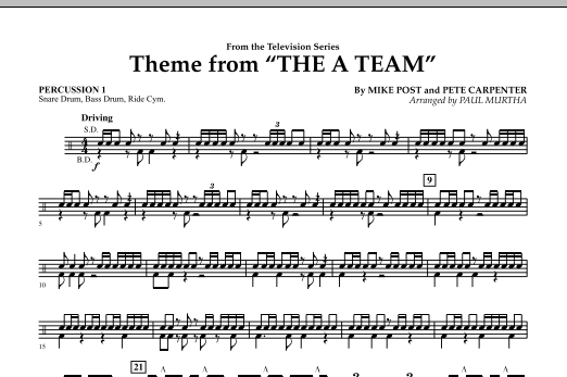 Paul Murtha Theme from The A-Team - Percussion 1 sheet music preview music notes and score for Concert Band including 1 page(s)
