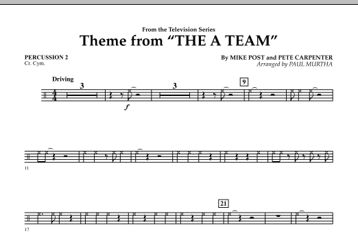 Paul Murtha Theme from The A-Team - Percussion 2 sheet music preview music notes and score for Concert Band including 1 page(s)