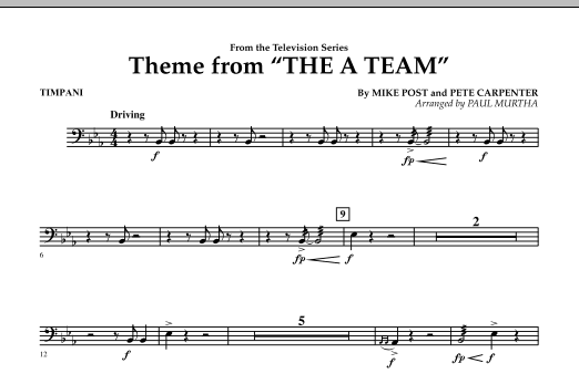 Paul Murtha Theme from The A-Team - Timpani sheet music preview music notes and score for Concert Band including 1 page(s)