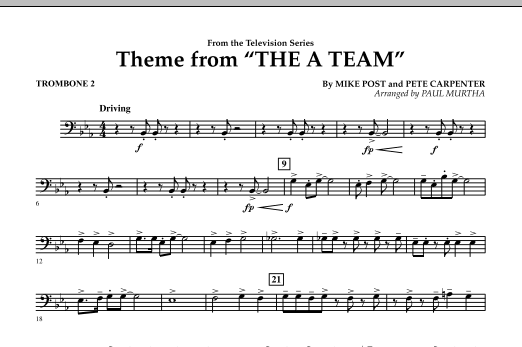 Paul Murtha Theme from The A-Team - Trombone 2 sheet music preview music notes and score for Concert Band including 1 page(s)