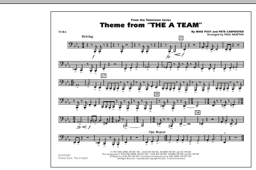 Paul Murtha Theme from The A-Team - Tuba sheet music preview music notes and score for Concert Band including 1 page(s)