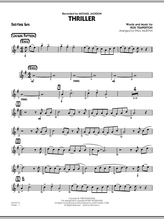 Paul Murtha Thriller - Baritone Sax sheet music preview music notes and score for Jazz Ensemble including 2 page(s)