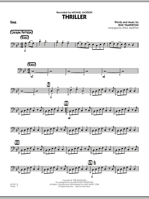 Paul Murtha Thriller - Bass sheet music preview music notes and score for Jazz Ensemble including 2 page(s)