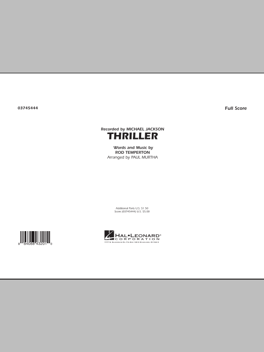 Paul Murtha Thriller - Full Score sheet music preview music notes and score for Jazz Ensemble including 10 page(s)