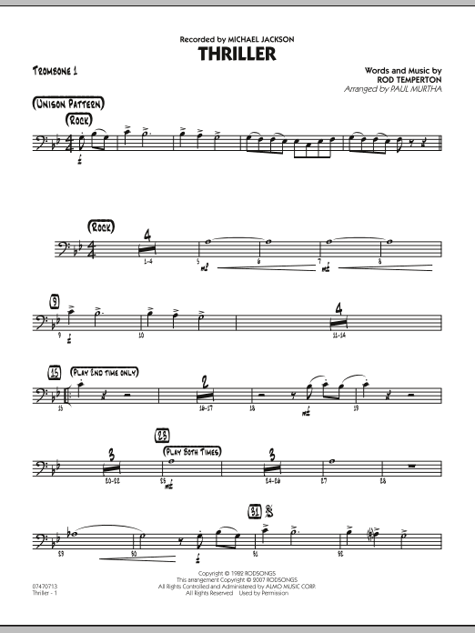 Paul Murtha Thriller - Trombone 1 sheet music preview music notes and score for Jazz Ensemble including 2 page(s)