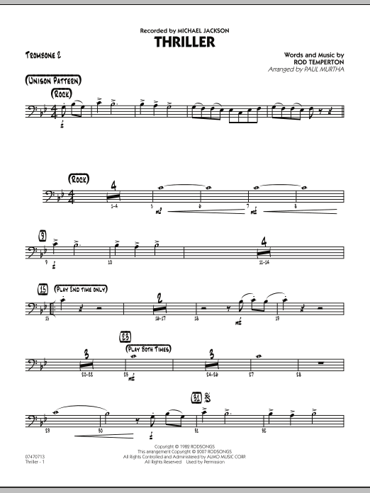 Paul Murtha Thriller - Trombone 2 sheet music preview music notes and score for Jazz Ensemble including 2 page(s)