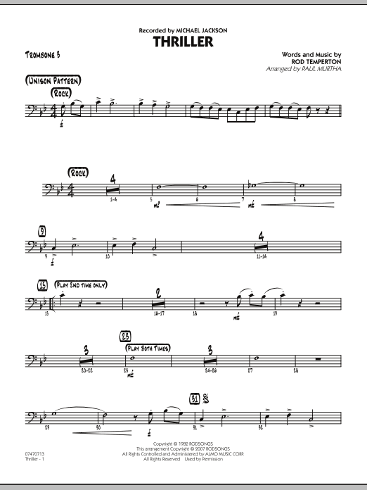 Paul Murtha Thriller - Trombone 3 sheet music preview music notes and score for Jazz Ensemble including 2 page(s)