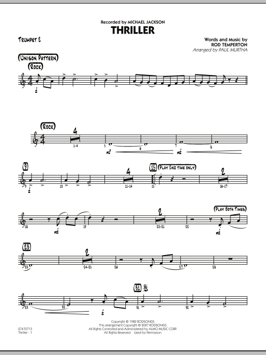 Paul Murtha Thriller - Trumpet 2 sheet music preview music notes and score for Jazz Ensemble including 2 page(s)