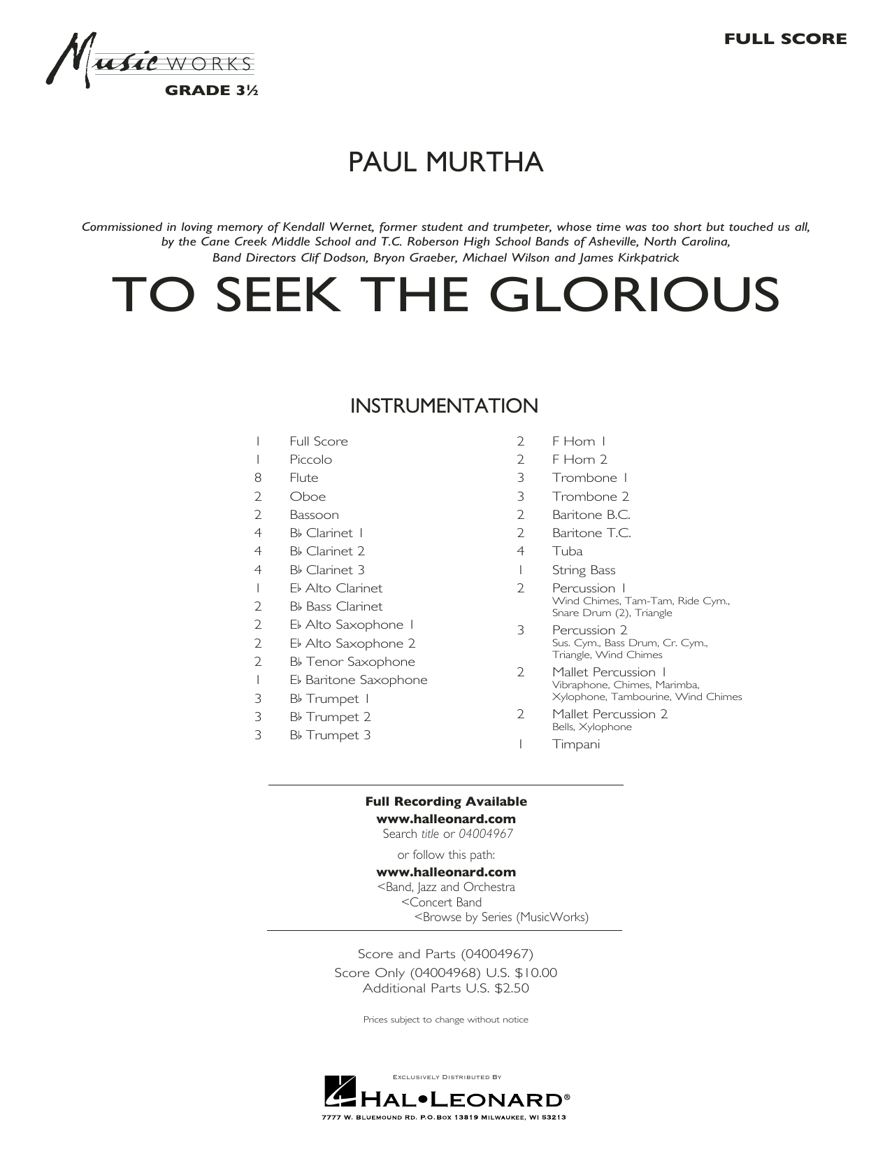 Paul Murtha To Seek the Glorious - Conductor Score (Full Score) sheet music preview music notes and score for Concert Band including 39 page(s)