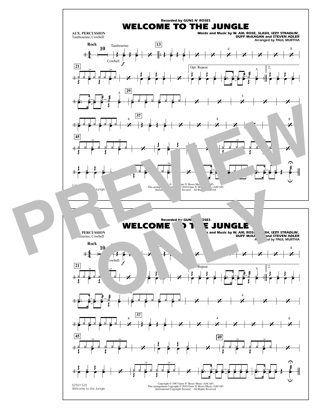 Paul Murtha Welcome to the Jungle - Aux Percussion sheet music preview music notes and score for Jazz Ensemble including 2 page(s)