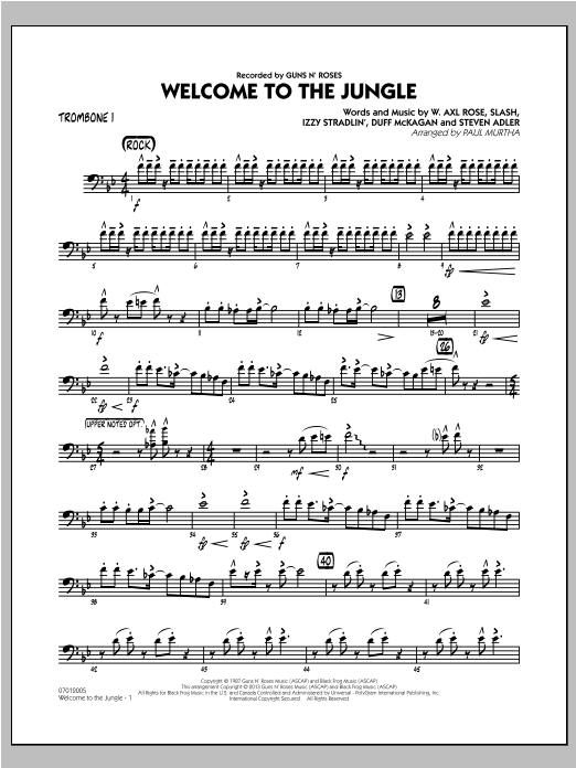 Paul Murtha Welcome to the Jungle - Trombone 1 sheet music preview music notes and score for Jazz Ensemble including 2 page(s)