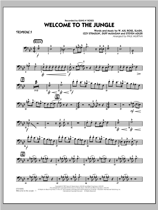 Paul Murtha Welcome to the Jungle - Trombone 3 sheet music preview music notes and score for Jazz Ensemble including 2 page(s)